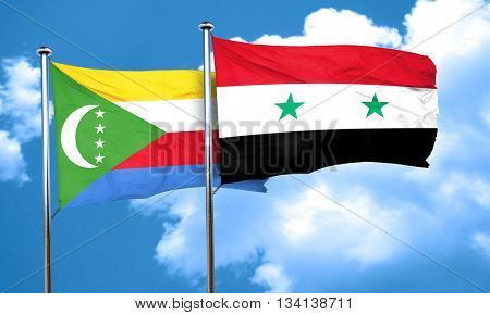Comoros flag with Syria flag, 3D rendering