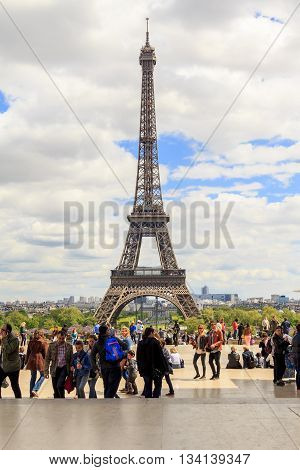 PARIS, FRANCE - MAY 11, 2013: From the observation deck Trocadero offers an amazing view of the Eiffel Tower.