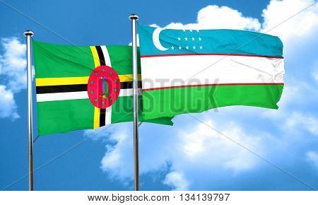 Dominica flag with Uzbekistan flag, 3D rendering