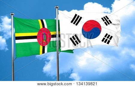 Dominica flag with South Korea flag, 3D rendering
