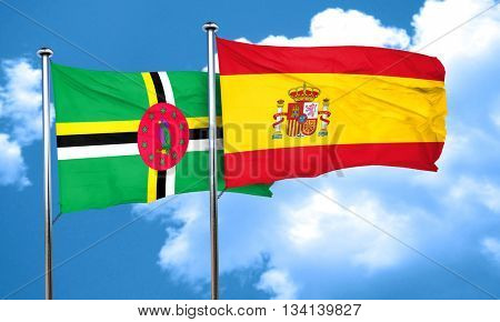 Dominica flag with Spain flag, 3D rendering