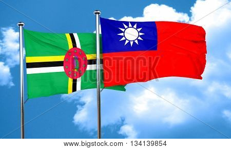 Dominica flag with Taiwan flag, 3D rendering