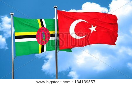Dominica flag with Turkey flag, 3D rendering