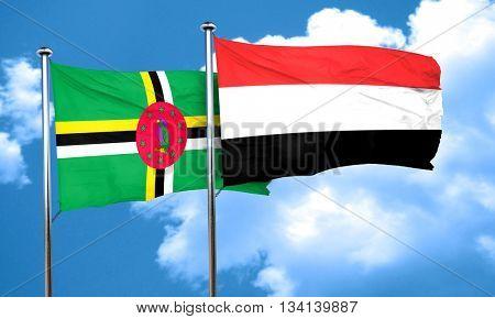 Dominica flag with Yemen flag, 3D rendering