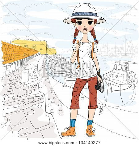 Lovely fashion girl traveler in white hat with photo camera in the port of Heraklion, Crete, in sketch-style.