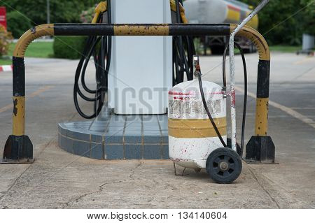 Old pump tire at oil and gas station