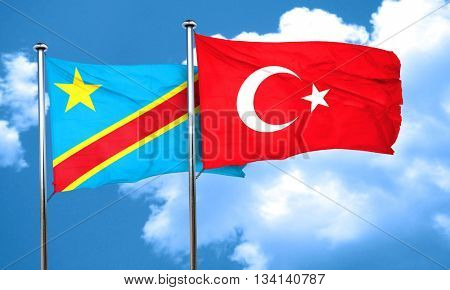 Democratic republic of the congo flag with Turkey flag, 3D rende