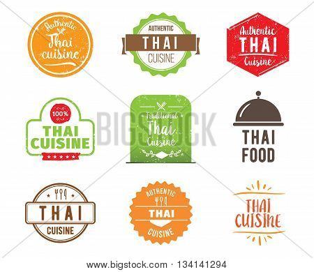 Thai cuisine, authentic traditional food typographic design set. Vector logo, label, tag or badge for restaurant and menu. Isolated.