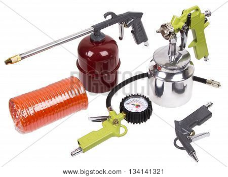 Air compressor tool kit on white bacground