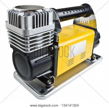Portable car air compressor. Car tyre electrical inflator. Heavy duty car air compressor