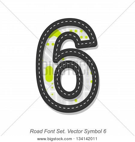 Road font sign, Symbol 6, Object on a white background, Vector illustration