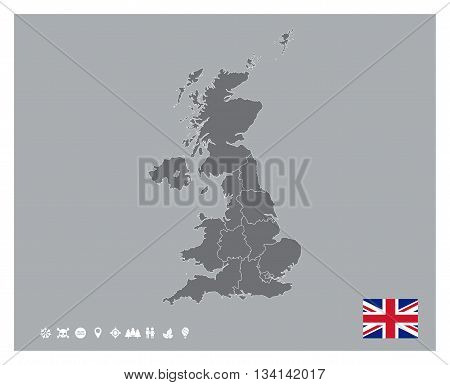 Editable template of detailed map of United Kingdom of Great Britain and Ireland with flag and icons set