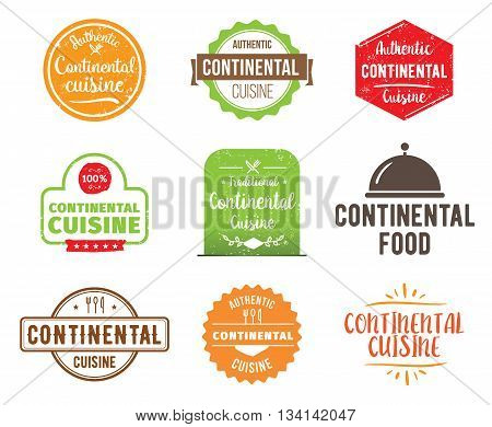 Continental cuisine, authentic traditional food typographic design set. Vector logo, label, tag or badge for restaurant and menu. Isolated.