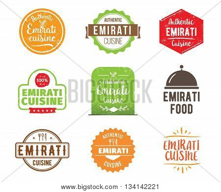 Emirati cuisine, authentic traditional food typographic design set. Vector logo, label, tag or badge for restaurant and menu. Isolated.