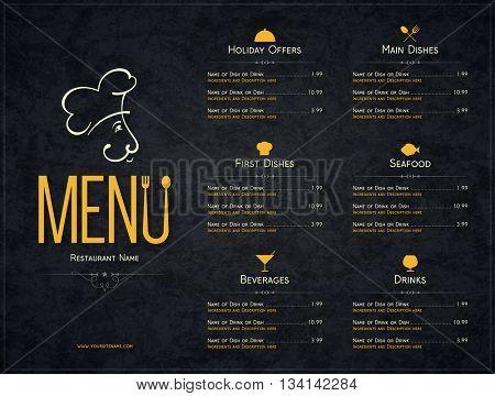 Restaurant menu design. Vector menu brochure template for cafe, coffee house, restaurant, bar. Food and drinks logotype symbol design. Crumpled vintage paper background