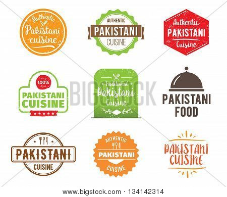Pakistani cuisine, authentic traditional food typographic design set. Vector logo, label, tag or badge for restaurant and menu. Isolated.