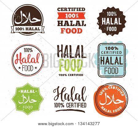 Halal food labels vector set. Badges or tag design. Muslim traditional food.