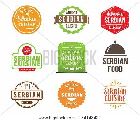Serbian cuisine, authentic traditional food typographic design set. Vector logo, label, tag or badge for restaurant and menu. Isolated.