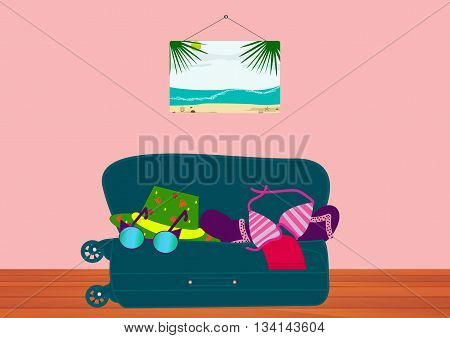 Suitcase with things for the sea lying on the wooden floor in the room. Collect suitcase in road travel.