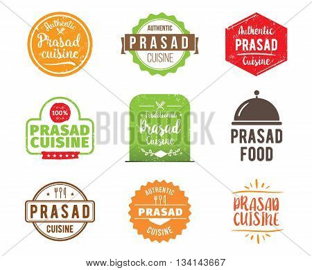 Prasad cuisine, holy indian authentic traditional food typographic design set. Vector logo, label, tag or badge for restaurant and menu. Isolated.