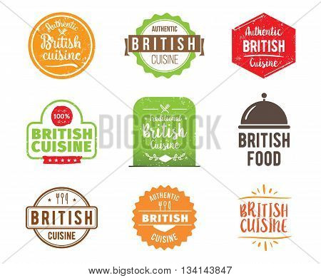 British cuisine, authentic traditional food typographic design set. Vector logo, label, tag or badge for restaurant and menu. Isolated.