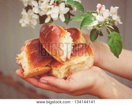There are Homemade Patties on the Women's Hands,Rural Natural Sweet Food,Baking,White Flowers