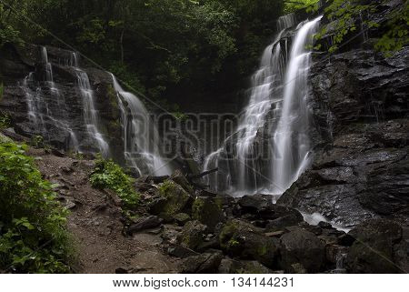 Spring waters flow over the twin Soco Falls in western North Carolina
