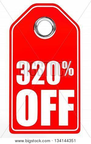 Discount 320 Percent Off. 3D Illustration.