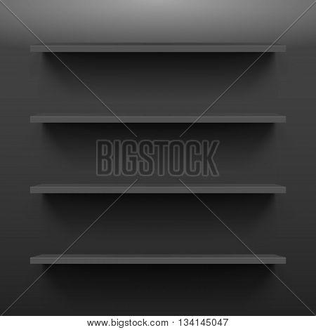 Gorizontal black shelves on a dark wall
