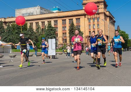 DNEPR UKRAINE - MAY 21 2016:Group of participants of the