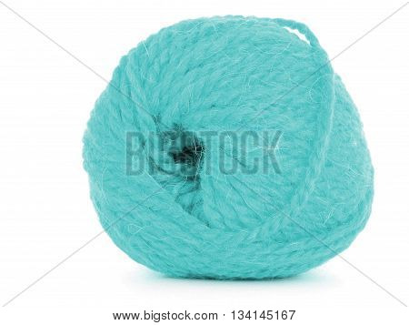 Clew of thread tangled skein isolated on white background