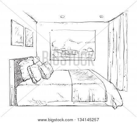 Hand drawn bedroom interior sketch. Doodles furniture