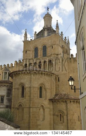 Eastern facade of the Old Cathedral of Coimbra Portugal.