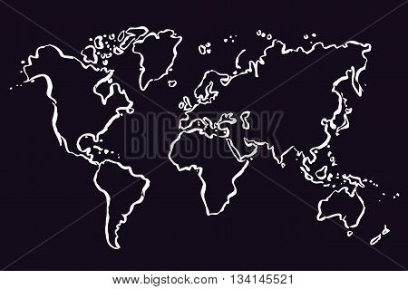 White Drawing map of The World. Vector Illustration.