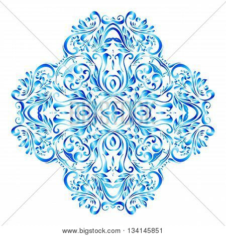 Luxurious blue snowflake made of floral pattern