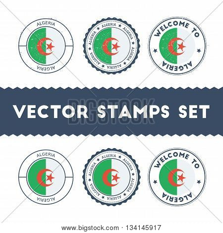 Algerian Flag Rubber Stamps Set. National Flags Grunge Stamps. Country Round Badges Collection.