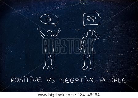 Positive Vs Negative People Reactions, With Thumbs Up And Thumbs Down
