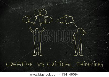 Men With Contrasting Reactions, Creative Vs Critical Thinking