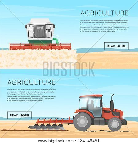 Tractor, combine. Agriculture. Agricultural vehicles. Harvesting, agriculture. Farm. Tractor processes the earth. Equipment for agriculture. Combine for harvesting. Flat design vector illustration.
