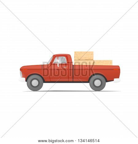 Pickup straw bale. Harvesting straw in the field. Agricultural vehicles. Harvesting, agriculture. Equipment for agriculture. Flat design vector illustration.
