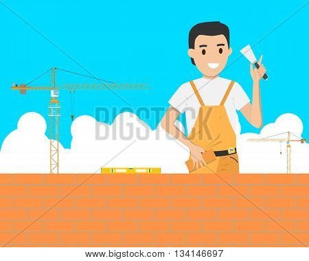 Bricklaying work in the construction of a building on a construction site. Vector illustration