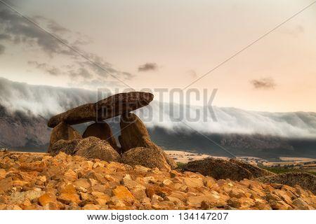 La hechicera Dolmen at sunrise in Alava
