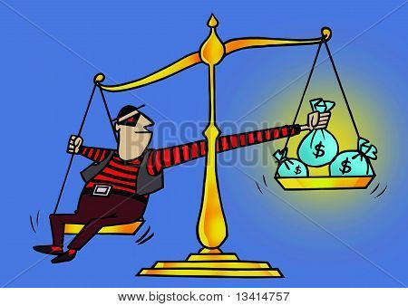 a robber balancing with dollar