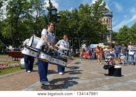 Ulyanovsk Russia - June 12 2016: Street musicians drummers at the celebration of Russia Day - the national holiday of the Russian Federation. It has been celebrated annually on June 12 since 1992.
