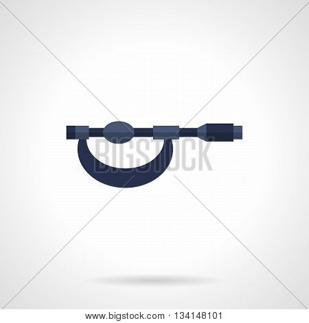 Blue old micrometer. Precision mechanics measuring of small parts with high accuracy to hundredths. Measure tools and devices. Flat color style vector icon.