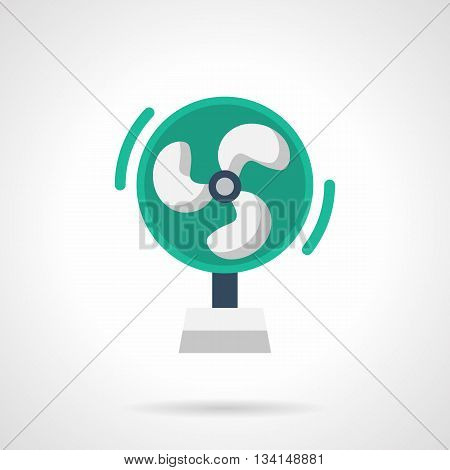Green electric fan with three white blades. Portable modern ventilator for office or home. Contemporary appliances. Flat color style vector icon.