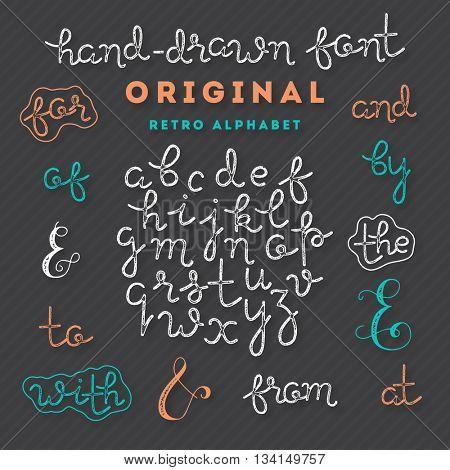 Handwriting Alphabet. Vector Hand Drawn Font