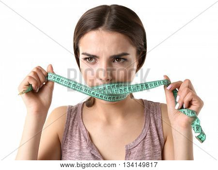 Woman with locked mouth for diet isolated on white
