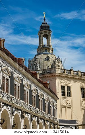 Historical building in Dresden (Germany) with blue sky.