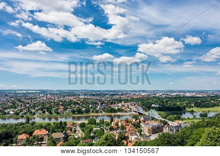 View over the river Elbe to Dresden (Germany).